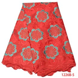 Wholesale Embroidered Cotton Voile Fabric - Red High Quality Swiss Voile Laces Switzerland Cotton Flower Embroidered Dress With Rhinestone Nigerian Lace Fabrics QF1226B-2