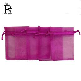 Wholesale organza wedding favours - RE Hot Sale 100pcs lot 7x9cm Fushia Fabric Organza Bags Wedding Favour Gift Bag Jewelry Pouches Display Organza Bags