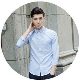 Wholesale Korean Clothing Mens Dress Shirts - Korean Casual Mens Dress Shirt 2017 Clothing Fashion Summer Solid Shirts 3 Colors Oversize