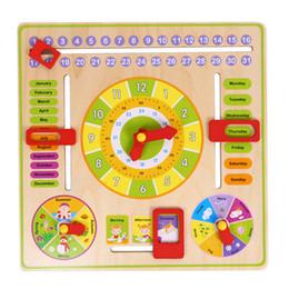 Apprendimento orologi online-Calendario multifunzionale in legno Orologio calendario cognitivo Stagione Data Bambini orologi educativi Early Learning Puzzle Toy Clock