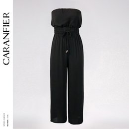 Wholesale Women S Lace Tube Tops - CARANFIER 2018 Women Tube Top Sexy High Waist Tie Jumpsuit Wide Leg Solid Black Lace-up Elastic Waist Chiffon Full Length New