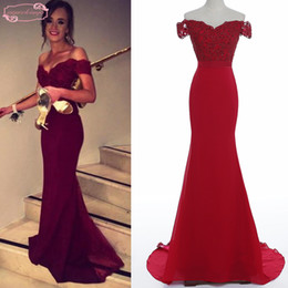 Wholesale laced nude bridesmaid dresses - Real Vestidos 2018 Burgundy Evening Dresses Mermaid Off the Shoulder Lace chiffon Prom Dresses Long Evening Gowns Cheap Bridesmaid Dresses