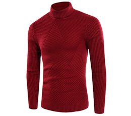 Wholesale Turtle Neck For Men - Pure Color Turtle Neck Sweater New Fashion Irregular Pattern Long Sleeve Red Sweater For Man