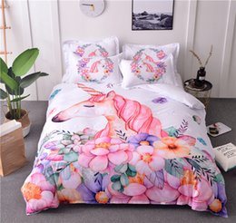 conjuntos de cama florais Desconto 3d dos desenhos animados jogo de cama unicórnio floral tampa de cama rosa branco capa de edredão set microfibra roupas de cama 3 pcs beddings