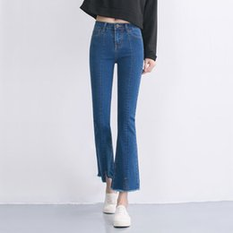 Wholesale High Waist Boot Cut Jeans - New Jeans Women's High Waist Boot Cut Jeans Fashion Denim Pants Elastic Trouser Black Blue sexy slim high waist jeans