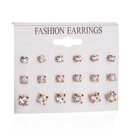 Wholesale photo earrings - SIRODI Earings Jewelry 18 Pcs 1 Set Fashion Austrian Crystal Stud Earrings For Women Lady Real Photo Korean Gold Stud Earring Snap Jewelry