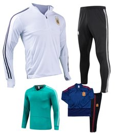 Wholesale microfiber suits - Argentina GERMANYE Spain Belgium Sports Training Suit clothes Long sleeves 2018 World Cup Long training pants Soccer SETS Messi Track Suit