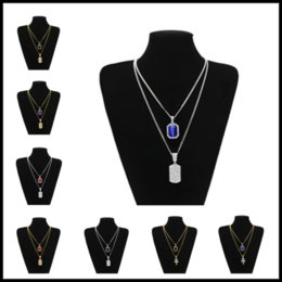 Wholesale gemstone animal pendants - 27 Designs 3mm*20inches 24inches Hip Hop Jewelry Set Square Gemstone Pendants Choker Chains Necklaces Accessories for Women Men
