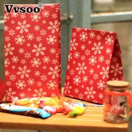 2019 stehe begünstigen 5er Rot Schneeflocke Frohe Weihnachten Papiertüte Cookie Geschenk Verpackung Tasche Geburtstag Party Favor Standbeutel günstig stehe begünstigen