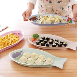 Wholesale Food Drain - Creative fish shaped double-layer dumpling dish sushi set tool plastic food fruit drain tray tableware dishes and plates sets