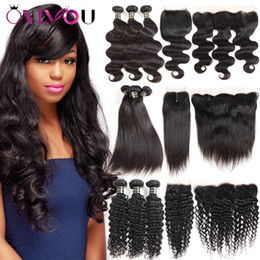 Wholesale Brazilian Water Wave Hair - Brazilian Virgin Human Hair Weft Extensions Straight Body Deep Water Wave Kinky Curly 3 Weave Bundles With Lace Closure Frontal Ear To Ear