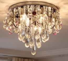 Высококачественные хрустальные цветочные лампы, круглые потолочные лампы, современная простая атмосфера, простые европейские ресторанные светильники LLFA от
