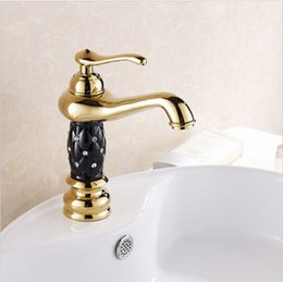 ceramic painting designs Coupons - High Quality Gold Finish with black painting Bathroom Sink Faucet Creative Design Single Lever Basin Faucet with ceramic body