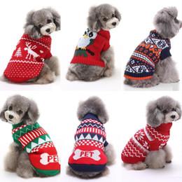 2019 suéter de reno Ropa para perros mascotas Fiesta de Navidad Ropa de renos Cachorro de punto Trajes del gato del animal doméstico Copo de nieve Ropa de abrigo Suéter Suministros para mascotas rebajas suéter de reno