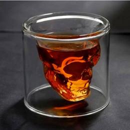 2019 cabeza de cráneo vodka vasos de chupito Cráneo de cristal doble transparente taza de whisky para bar cristal esqueleto Copa Hotel boda gafas regalo Drinkware