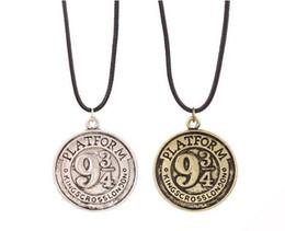 Wholesale Gold Necklaces Images - Hat sale Inspired Hogwarts Express 9 3 4 Logo Image Platform necklace Vintage 9 3 4 platform Pendant Necklace movie fan gift