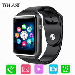 smart sms sincronizzazione orologio Sconti 2018 bambino Bluetooth Smart Watch con fotocamera Facebook Whatsapp Twitter Sync SMS Smartwatch Supporto SIM TF Card per iOS Android