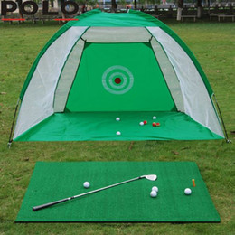 Set di swing online-Golf Cage Swing Trainer Pad Set Indoor Golf Ball Practice Net Training Nuovo 2M