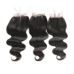 4x4 capelli brasiliani dell'onda del corpo capelli umani chiusura del merletto svizzero parte centrale / parte libera / tre parti con nodi sbiancati capelli di Remy 8 '' - 24 '' da