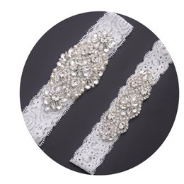 Wholesale Rhinestone Garter Belt - MissRDress bridal garter elegant lace wedding garter set crystal rhinestones bridal set leg garter belt for wedding wemon YS853850