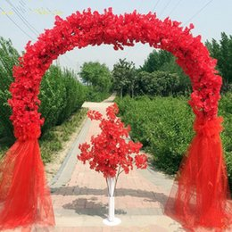 blossoms flower shop NZ - Wedding Centerpieces Metal Frame with Cherry Blossoms Chiffon Set Arch Happiness Door For Shopping Mall Opening Party Decoration