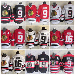 Chicago Blackhawks CCM Hockey Bobby Hull 16 Vintage 9 Bobby Hull Camisetas retros 75TH Un parche Stiched Blanco Negro Rojo desde fabricantes
