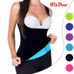 Wholesale Slimming Pants Shaper - Wholesale-HOT 2COLORS slimming redu thermo cami hot slim belt Neoprene shaper Vest Sweat Both Side Wearable Zipper Side Waist Trainer