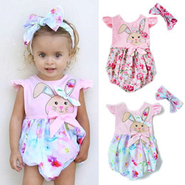 Pâques nouveau-né bébé fille vêtements floral lapin lapins imprimer barboteuse avec bandeau 2 PCS bébé filles vêtements Infant Kids vêtements boutique ? partir de fabricateur