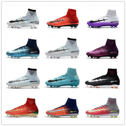 Wholesale Navy Blue Men Boots - 2017 All Colors Mercurial Superfly V FG Fire Red Soccer Boots for High quality CR7 5 X Fire FG Sports Football Shoes Soccer Cleats EUR 39-45