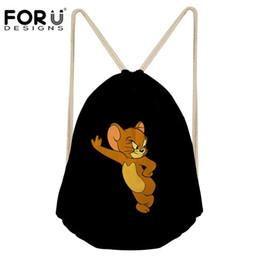 Wholesale mouse backpack - FORUDESIGNS Women's Drawstring Bag Cute Mouse Printing Drawstring Backpack Girls Casual Daypack Cartoon Kids Travel Rucksack