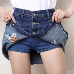 Wholesale Women S School Girl Skirt - 2017 women new summer floral Embroidery style High waist denim shorts skirts plus size short jeans sexy school girl cute wear