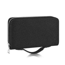 Wholesale xl leather bag - New Zippy XL Wallet Round Zipper Travel Case Black Purse Men Women Real Epi Leather Brown Passport Bag Holder Designer Damier Ebene Clutch