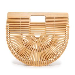 Bambushandtaschen online-Bambus Designer Marke Tasche Mode Womens Reine Hand Made Handtasche Half Runde Form Eco Friendly Luxus Taschen 63zz2 jj