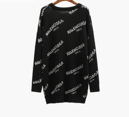 Wholesale Celebrities Green - Free Shipping 2017 Celebrity Style Sweaters Pullover Long Sleeve Crew Neck Letter Red Black Green Women's Sweaters 168
