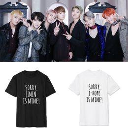 Argentina kpop BTS Bangtan Boys concierto que rodea la carta T-shirt parodia Caliente europeos y americanos hombres mujeres amantes de la camiseta marea k-pop cheap spoof shirts Suministro
