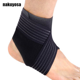 Wholesale Ankle Protection Football - 2PC Sport breathable Ankle Brace Protector Adjustable Ankle Support Pad Protection Elastic Brace Guard Support Football