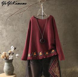 Wholesale Black Linen Blouse - YoYiKamomo Women Embroidery Cotton Linen National Blouse Spring 2018 New Retro Dots Shirt long-sleeved Vintage Tops