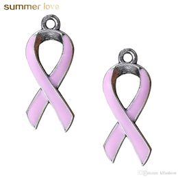 2019 рак прелести 50 Шт./ Лот Европейский Рак Молочной Железы Осведомленности Розовая Лента Шарм Для Браслеты Ожерелье Ювелирные Изделия Для Женщин дешево рак прелести