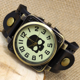 Wholesale Bracelet Boys - Hot Sale Black Brown Steampunk Skull Leather Band Watch Men Quartz Casual Watch Cool Boy Bracelet Watches