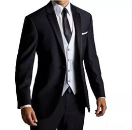 uomini del vestito da cerimonia nuziale di stile del tuxedo Sconti Personalizzato New Hot European e American Style Men's Suit Uomo Gentleman Business Dress Vestito a due pezzi (cappotto + pantaloni) Smoking da sposa