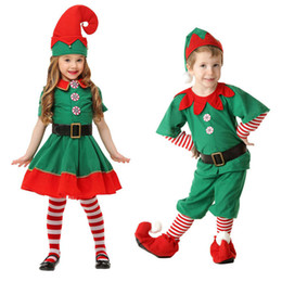 Elf cosplay online-Weihnachten Halloween Baby Jungen Mädchen Cosplay Kostüm Kinder Weihnachten Elf Kleidung 2018 Mode Weihnachten Boutique Kinder Dancewear C5267