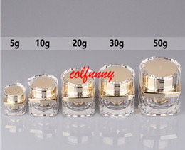 Wholesale 5g Acrylic Jar Wholesale - 50pcs lot 5g 10g 20g 30g 50g Top Grade Clear Acrylic Empty Bottle jar Eye Gel Lipstick Sample Empty Cosmetic Containers