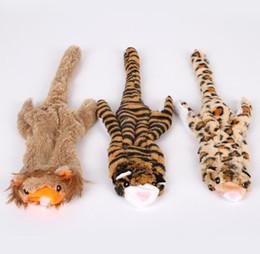животное тигр Скидка Симпатичные Лев игрушки для собак писк животных Pet игрушки плюшевые тигр леопард для собак жевать пищалка скрипучий собака игрушки
