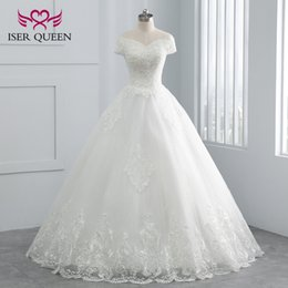 Wholesale beautiful backless dresses - Beautiful Pearl beading with Embroidery Appliques New Wedding dress 2018 V neck Short Sleeve White Color Elegant Wedding Dresses WX0107