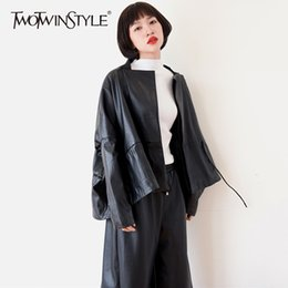 Wholesale Coat Drawing - TWOTWINSTYLE PU Leather Short Coats For Women Tunic Draw String Lapel Collar High Waist Jacket Autumn Female Fashion New Clothes