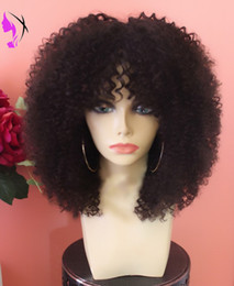 Wholesale Curly Wigs For White Women - New style afro Kinky Curly Synthetic front wig heat resistant for Black Women short curly wig With bangs