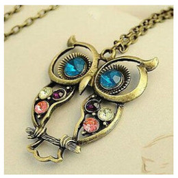 carved horn pendant Coupons - whole salex15 2016 Retro Vintage Color Necklace Block Drill Hollowing Carved Cute Owl Pendant Necklace Jewelry Gift
