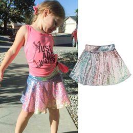 Wholesale Knee Length Mermaid Skirt - Baby Girls Mermaid Skirts New Kids Fashion Sequin Rainbow Tu tu Skirts Infant Summer Dress Girls Princess Skirt for 1-5T