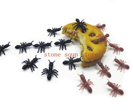 Wholesale toy bugs insects - 250pcs Simulation Plastic Mini Ants Black Brown 1.8*1.5cm Halloween Party Decors Funny Insect Joking Toy Bug Ant