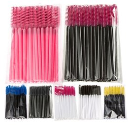 Wholesale Mascara Pack - 50Pcs Pack Disposable Micro Eyelash Brushes Mascara Wands Applicator Wand Brushes Eyelash Comb Brushes Spoolers Makeup Tool Kit